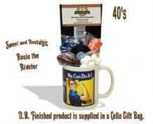 Rosie the Riveter Mug with/without a selection of 40's Traditional Sweets.